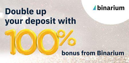 Tiền thưởng Binarium khi bạn gửi tiền đầu tiên - 100% tiền thưởng