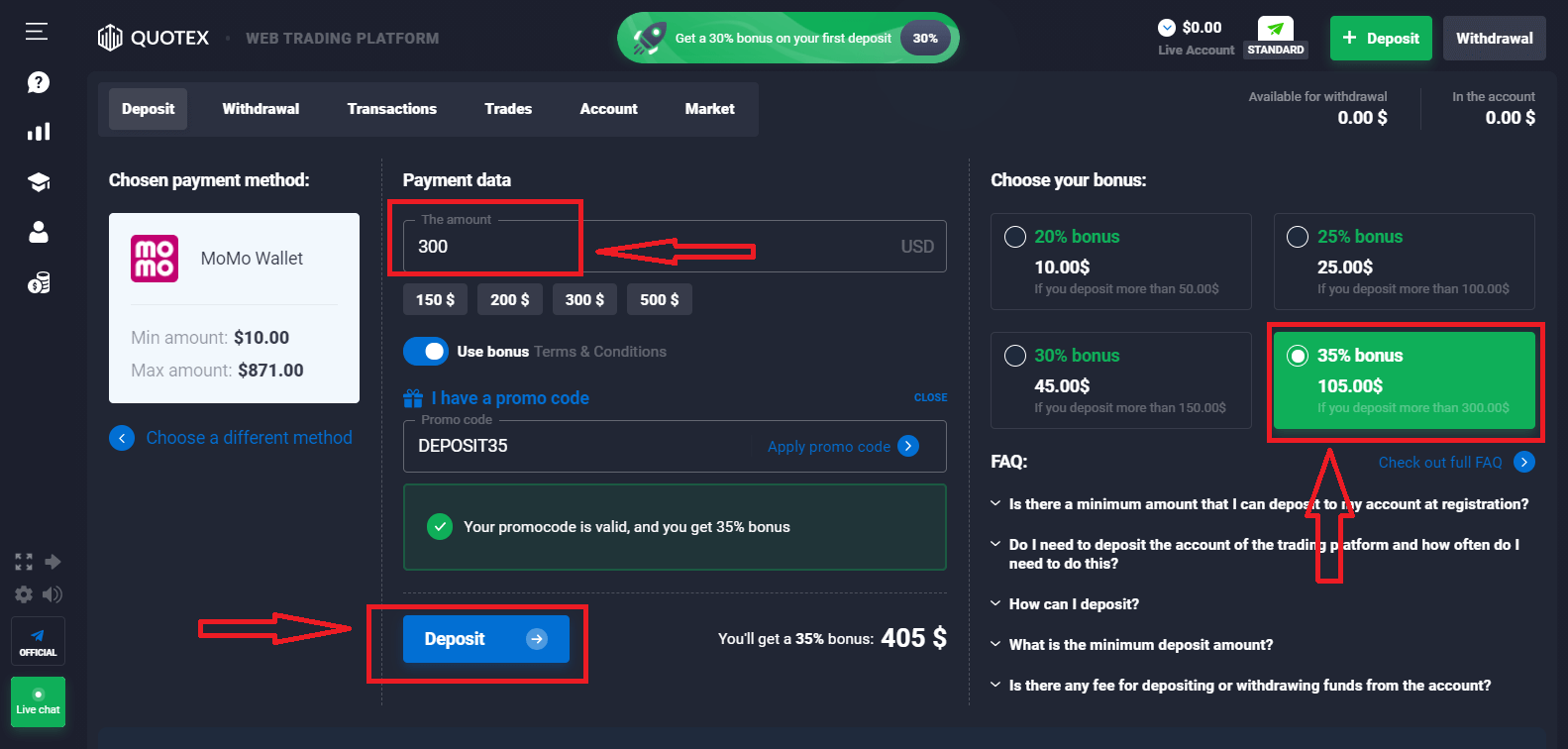 Quotex Deposit Methods - How to make a Deposit in Quotex